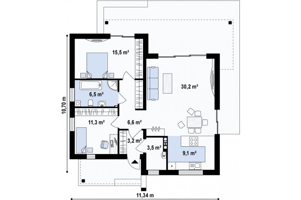 Thiết Kế Nhà Cấp 4 2 Phòng Ngủ 9