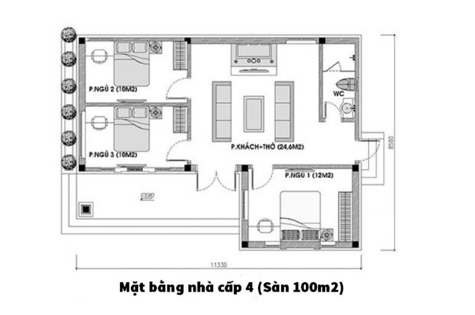 Mẫu thiết kế nhà cấp 4 có phòng thờ ngay cạnh bếp
