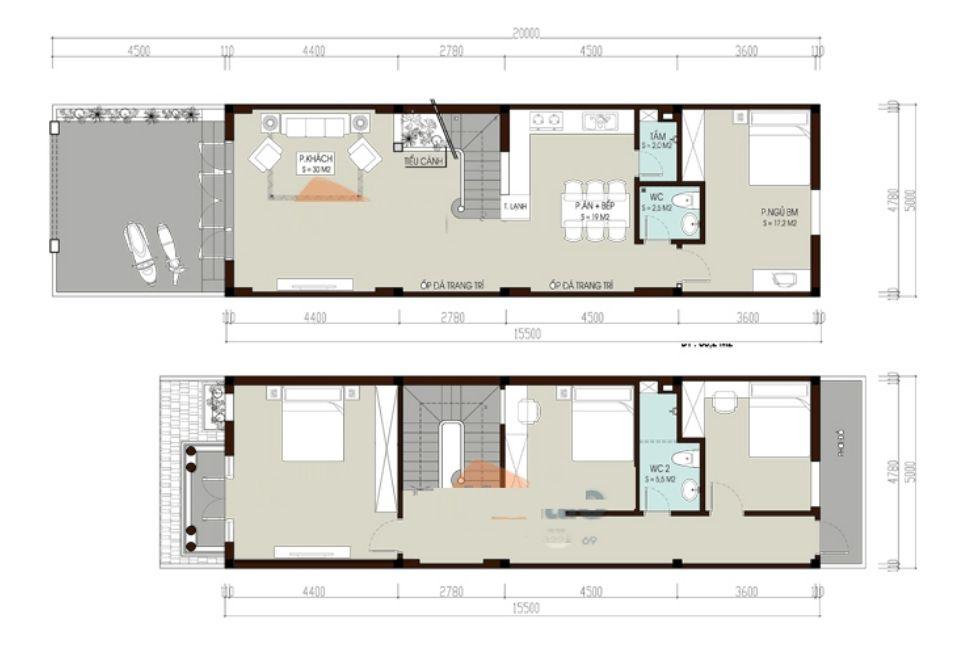 Bản vẽ thiết kế nhà ống 2 tầng 5x20