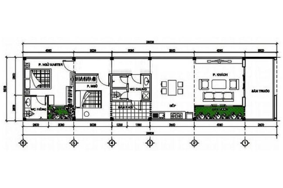 Bản vẽ thiết kế nhà ống 5x20m 1 tầng