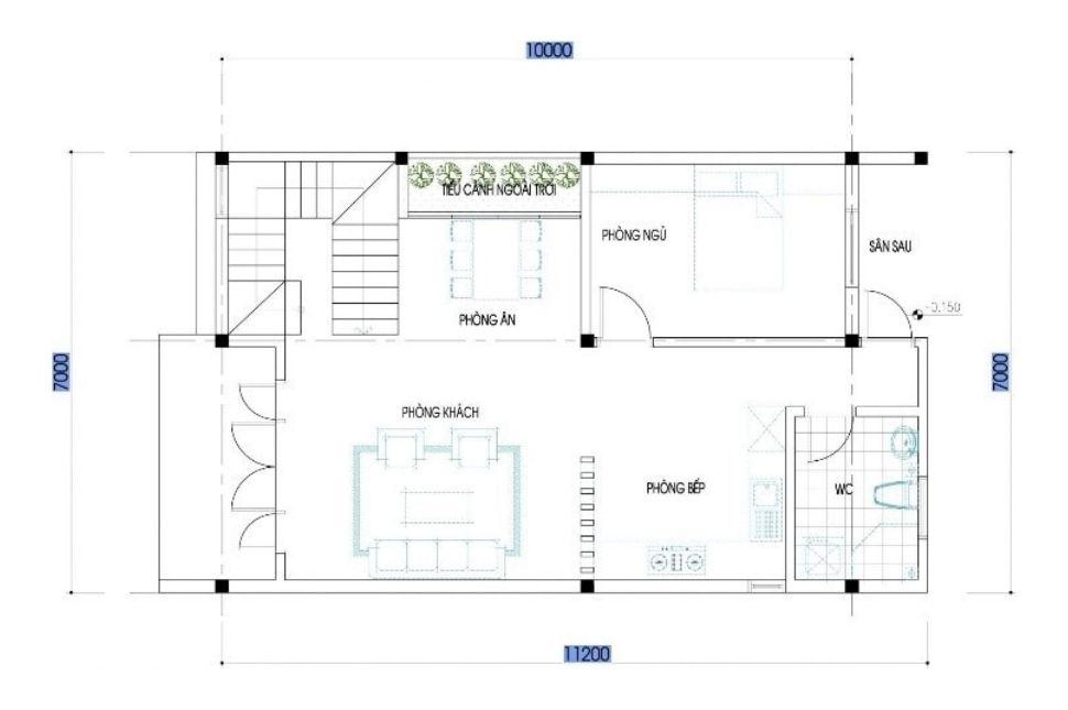 mẫu thiết kế nhà ngang 7m