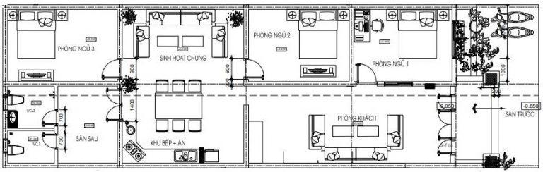 thiết kế nhà chiều ngang 7m