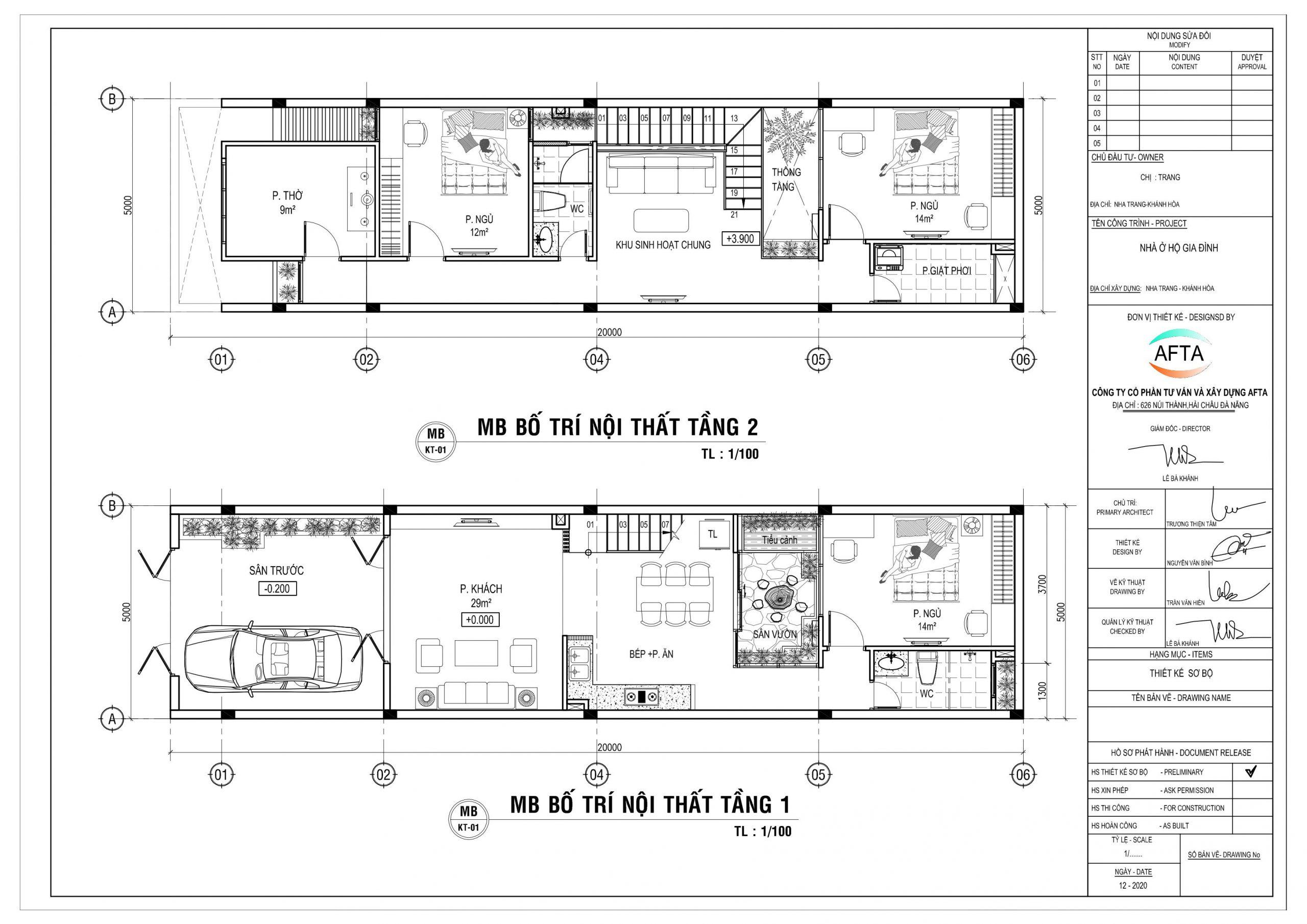 Mặt bằng công năng mẫu nhà 2 tầng