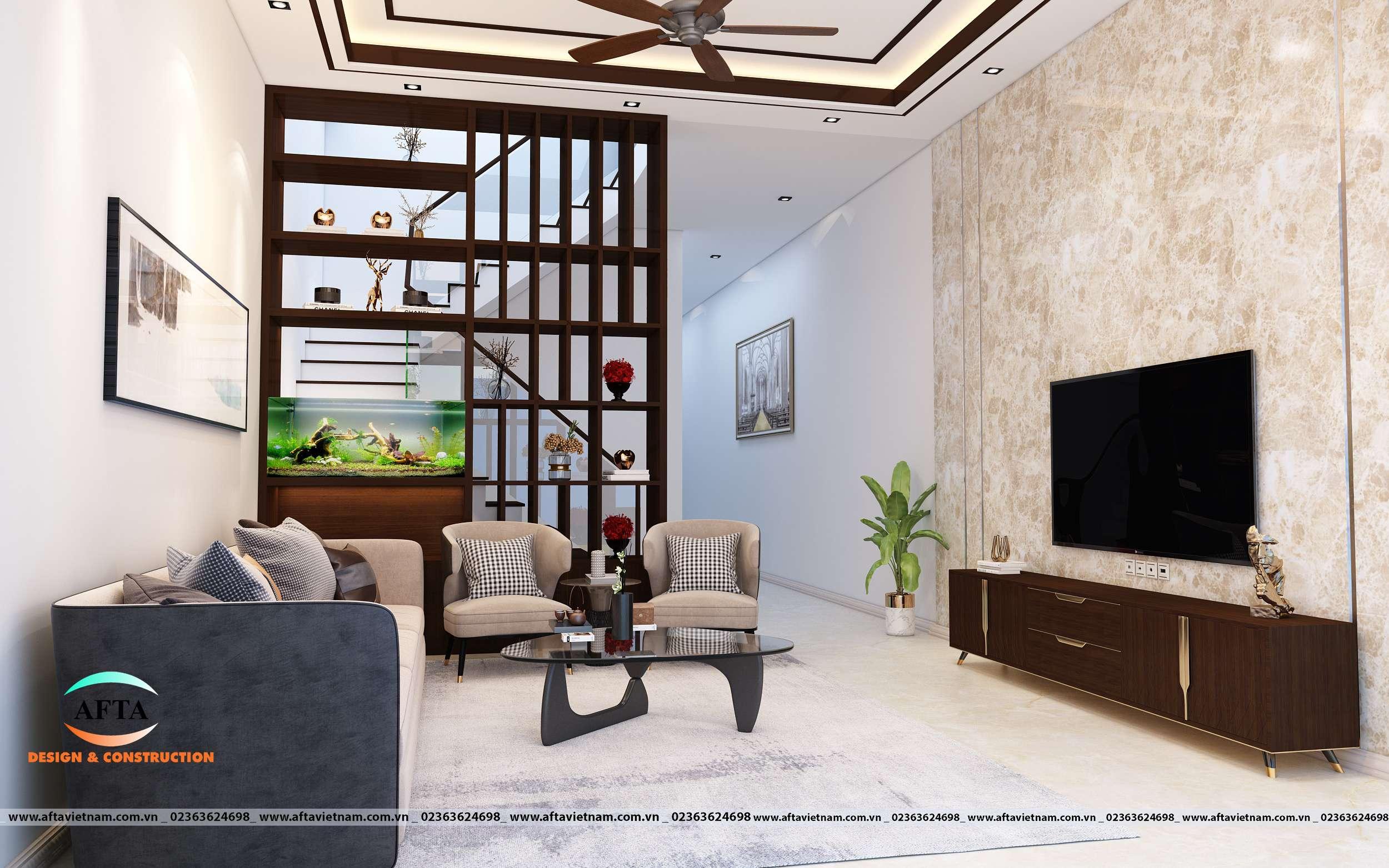 Phòng khách và bếp nhà ống 2 tầng 3
