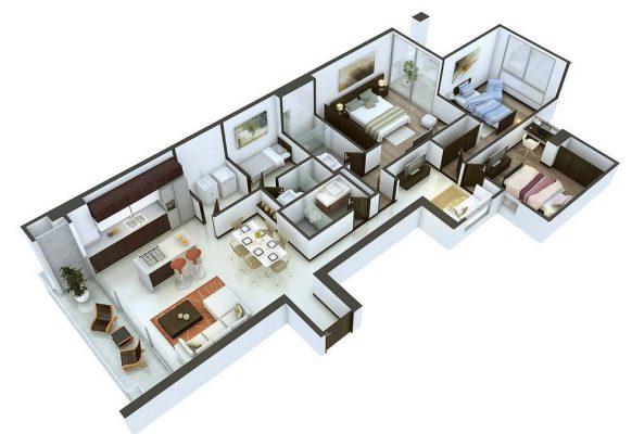 Nhà cấp 4 mái bằng 3 phòng ngủ