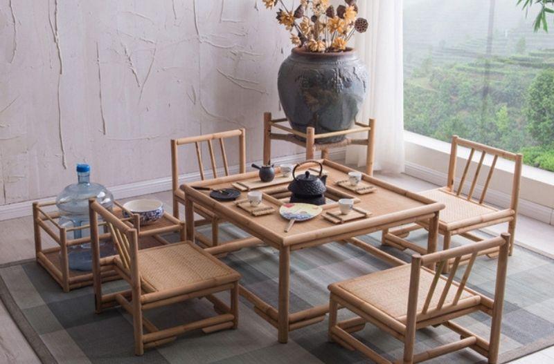 Mẫu bàn tre trúc uống trà với những chiếc ghế cao
