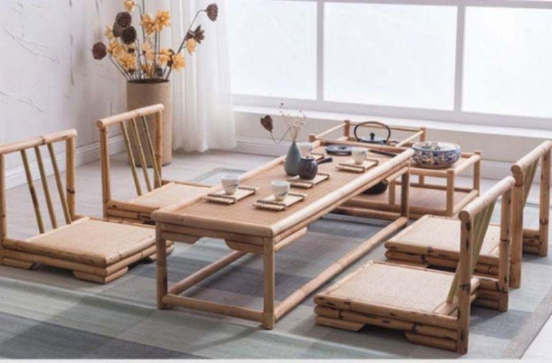Mẫu bàn uống trà với những chiếc ghế thấp