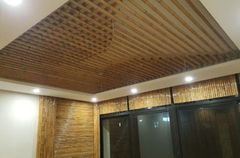 Mẫu ốp trần và tường bằng tre trúc