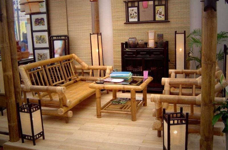 Mẫu bàn và ghế, tủ, rèm để phòng khách bằng tre trúc rất đẹp