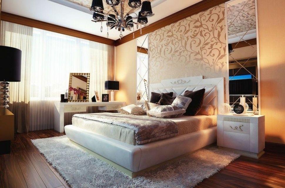 Mẫu 1 - Phòng ngủ có diện tích 12m2 - Thiết kế vách ngăn hoa văn tạo sự sang trọng và ấm cúng