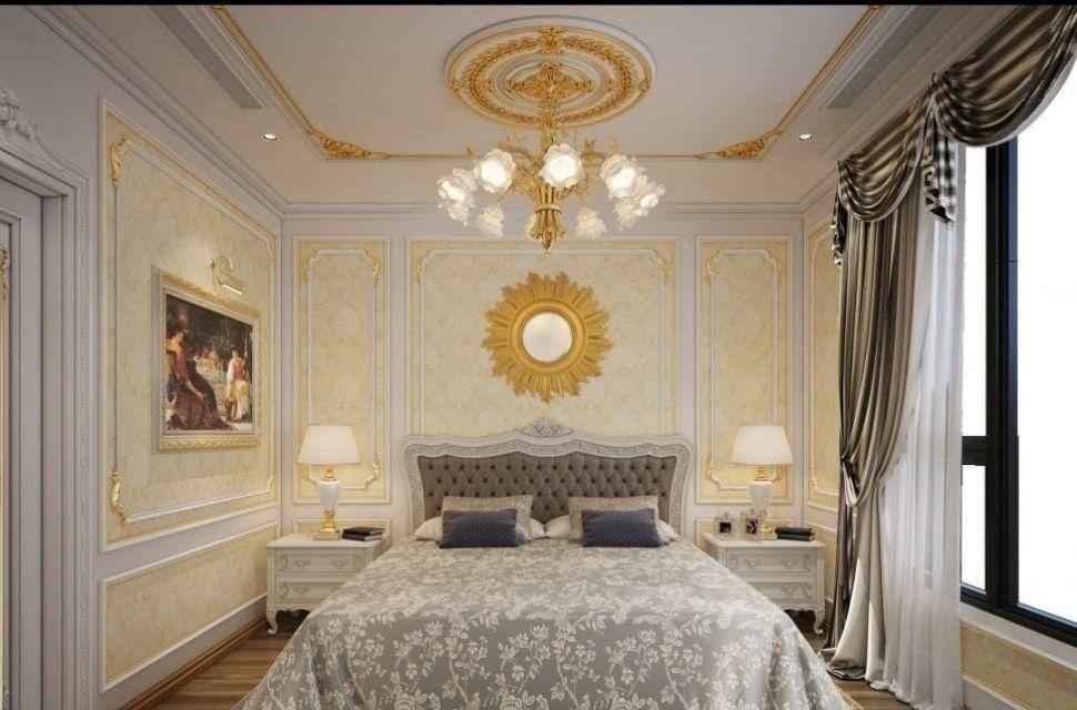 Mẫu 3 - Phòng ngủ có diện tích 12m2 - Phong cách cổ điển hoàng gia được lựa chọn trang trí trong phòng ngủ