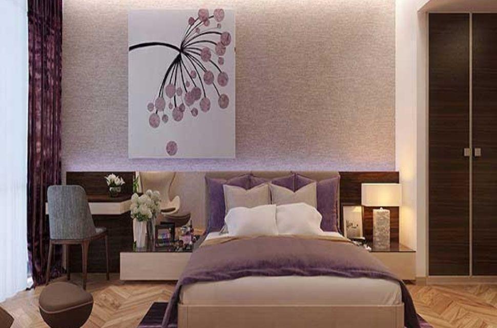 Mẫu 1 - Phòng ngủ có diện tích 14m2. Tủ, kệ và giấy dán tường cũng góp phần làm nên vẻ đẹp cho căn phòng