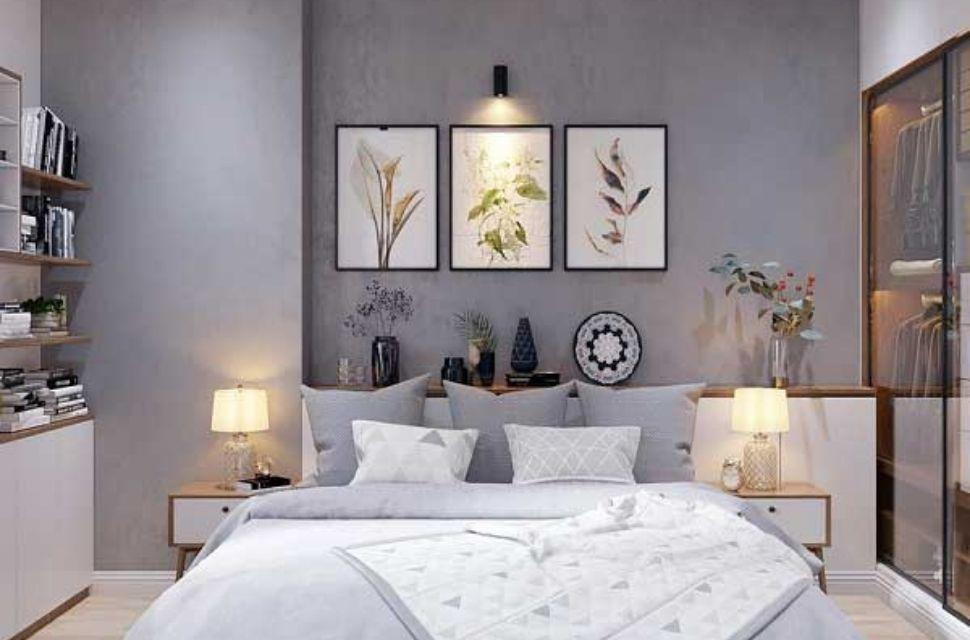 Mẫu 2 - Phòng ngủ có diện tích 14m2. Cách trang trí, phối màu sắc hợp lí thì căn phòng 14m2 trở lên thông thoáng, rộng rãi hơn