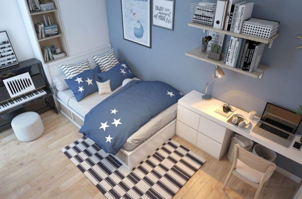 Mẫu 1 - Phòng ngủ có diện tích 8m2, nội thất phòng ngủ đơn giản hiện đại