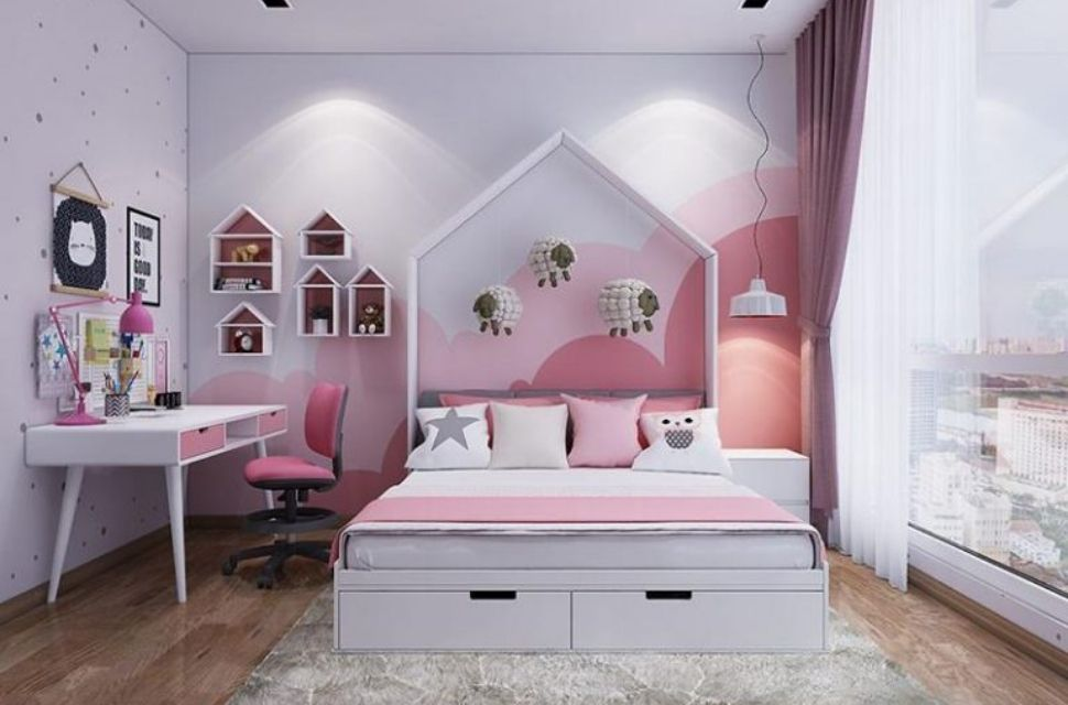 Mẫu 6 - Phòng ngủ cho bé gái, nội thất phòng ngủ đơn giản hiện đại