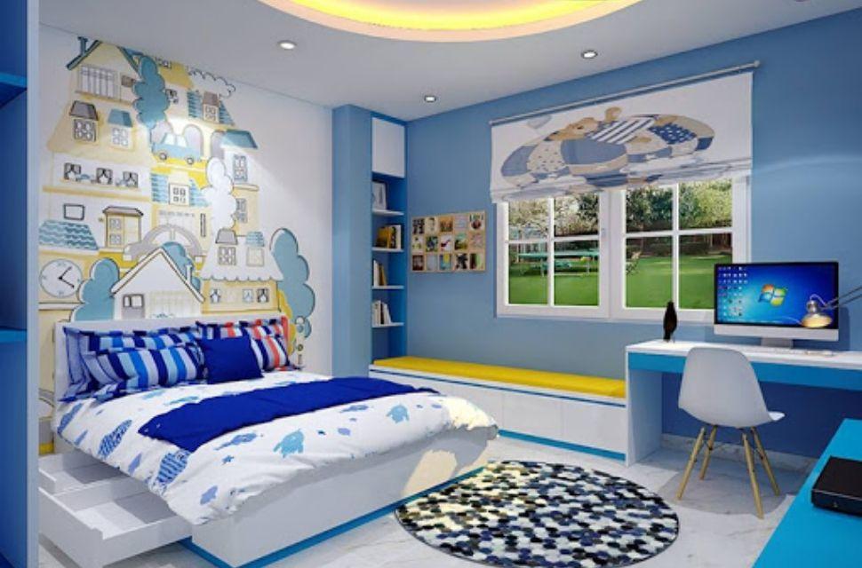 Mẫu 4 - Phòng ngủ cho bé trai, nội thất phòng ngủ đơn giản hiện đại